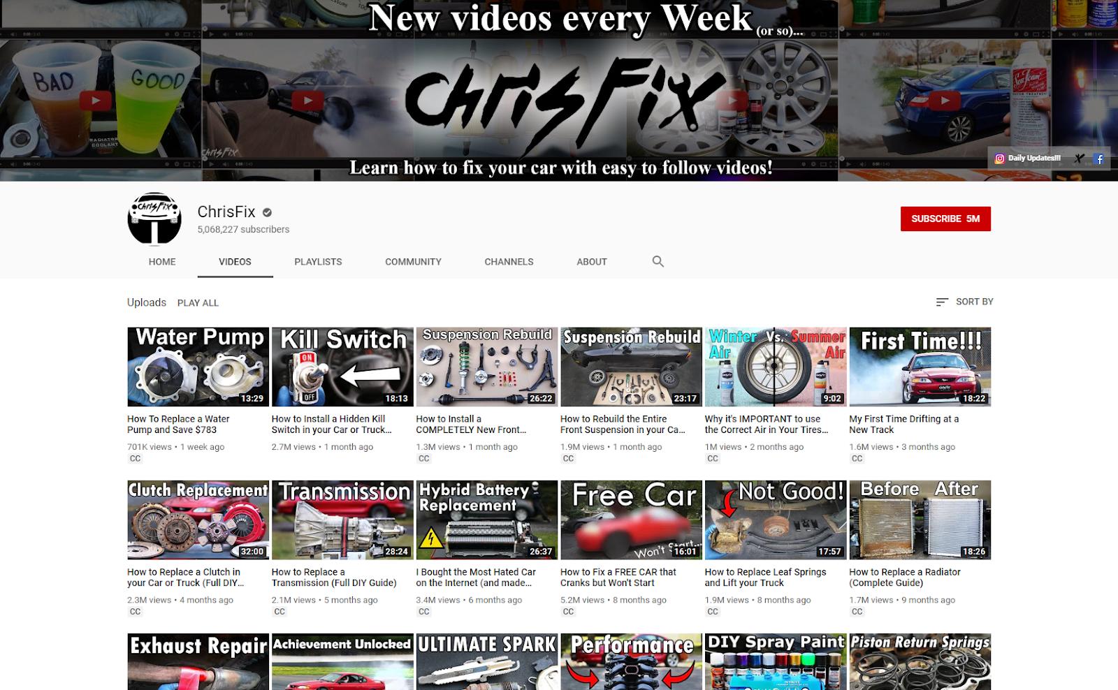ChrisFix YouTube chris-fix .com