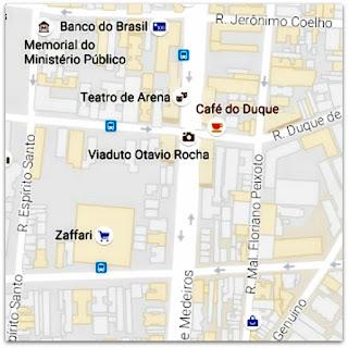 Mapa com a Localização da Escadaria do Viaduto Otávio Rocha, Centro Histórico de Porto Alegre