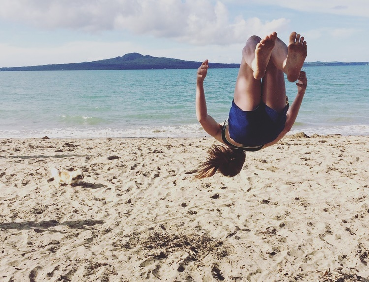 Cheerleading on the beach - Mission Bay Auckland, NZ