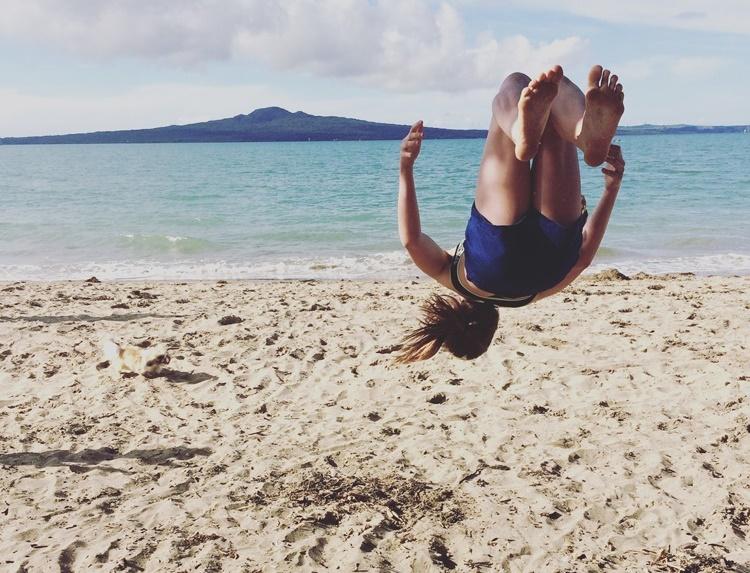 Cheerleading on the beach - Mission Bay Auckland, NZ