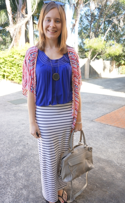 Pattern Mixing Colour Blocking Red printed kimono cobalt blue tee striped maxi skirt