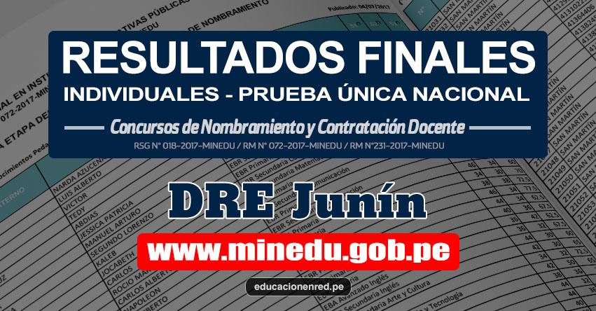 DRE Junín: Resultado Final Individual Prueba Única Nacional y Relación de Postulantes Habilitados para Etapa Descentralizada Nombramiento Docente 2017 - MINEDU - www.drejunin.gob.pe