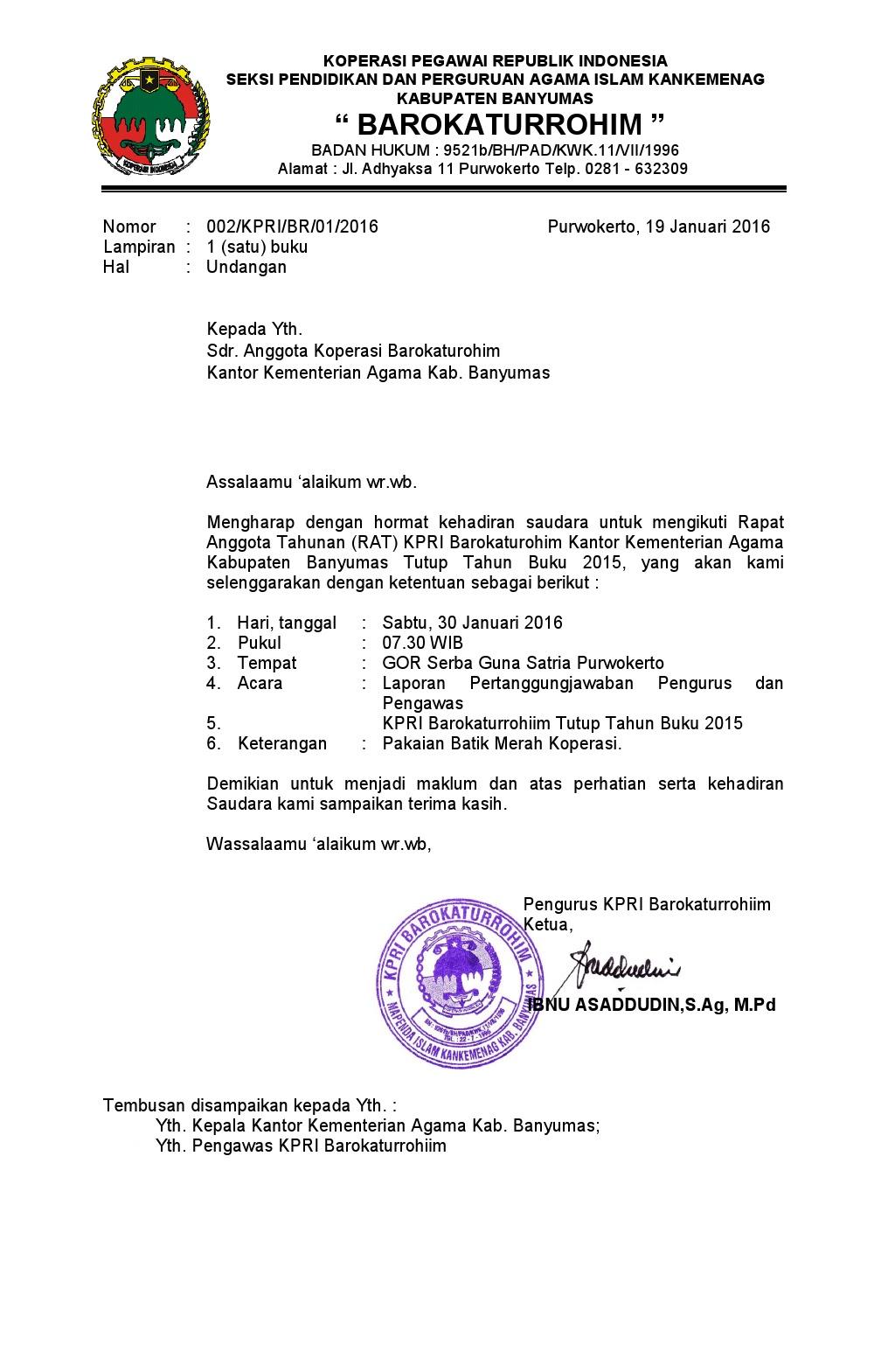 Contoh Surat Undangan Rapat Anggota Koperasi