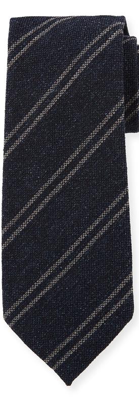 TOM FORD Textured Striped Silk/Wool Tie