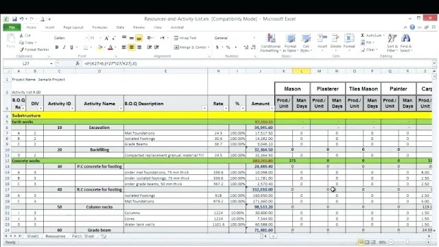 Project and Resource Planning Excel Template - ENGINEERING MANAGEMENT