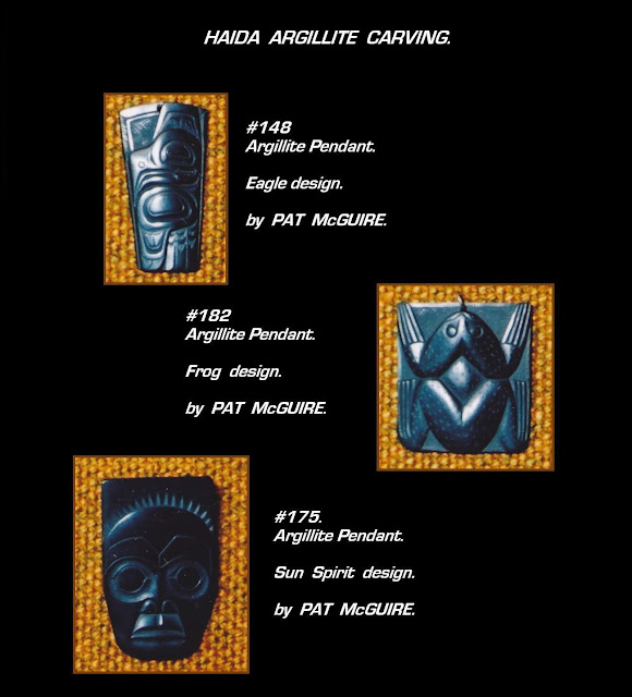 Argillite pendants Pat McGuire Haida carving
