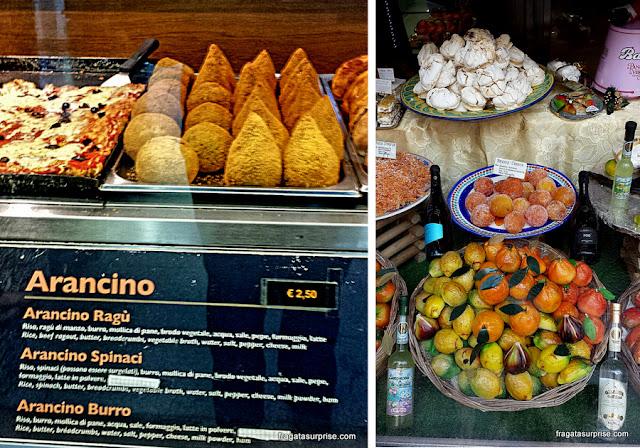 Comidas típicas da Sicília: arancini e frutas cristalizadas