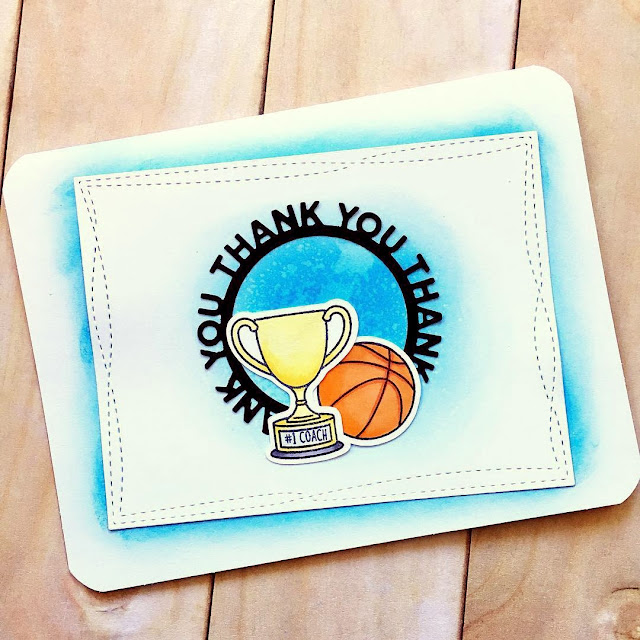 Sunny Studio Stamps: Team Player Thank You Customer Card by Crafty Lil Panda