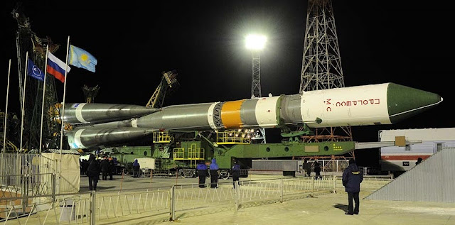 A Soyuz 2.1a rocket with the Progress MS-1 spacecraft being transported to the launch site. Photo Credit: RKK Energia