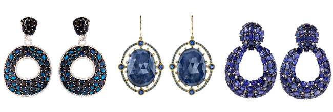 Glamour earrings with dark blue stones
