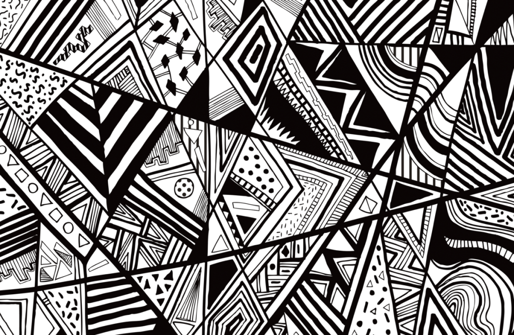 abstract art drawing in black and white