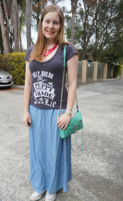 Oscar's Law Break the puppy trade Don't buy the lie graphic tee with chambray maxi skirt bright accessories | Away From Blue