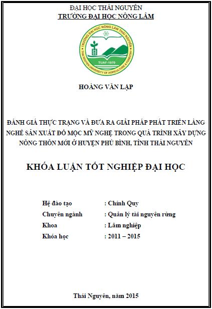 Đánh giá thực trạng và đưa ra giải pháp phát triển làng nghề sản xuất đồ mộc mỹ nghệ trong quá trình xây dựng nông thôn mới ở huyện Phú Bình tỉnh Thái Nguyên
