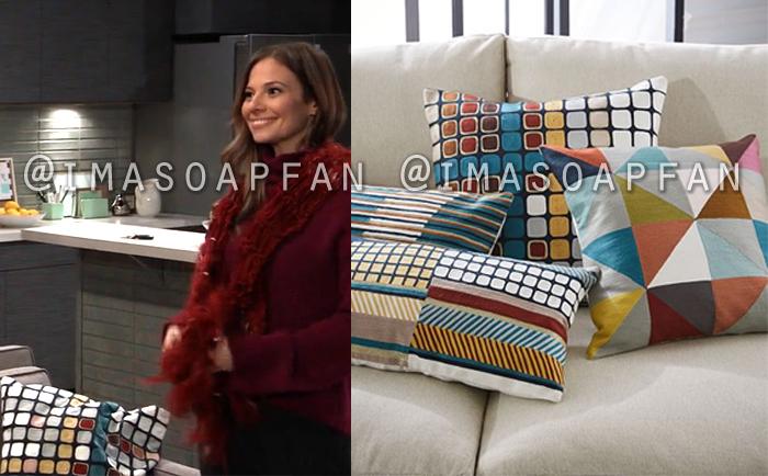 Kim Nero, Tamara Braun, Multicolored Geometric Patterned Pillow Covers, West Elm, General Hospital, GH