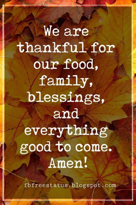 Sayings For Thanksgiving Cards, We are thankful for our food, family, blessings, and everything good to come. Amen!