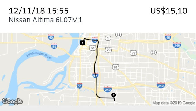 Preço de uma corrida de uber da rodoviária de Memphis ao Centro da cidade