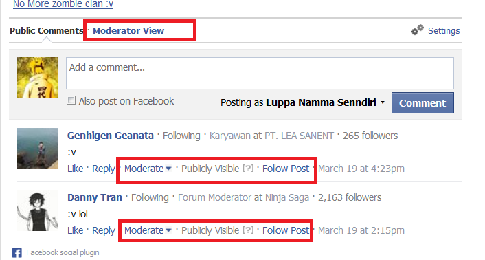 Manage Facebook Comment atau Moderatorisasi Comment