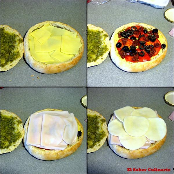 Super bocadillo de pavo, queso, tomates secos, espinacas y pesto-4