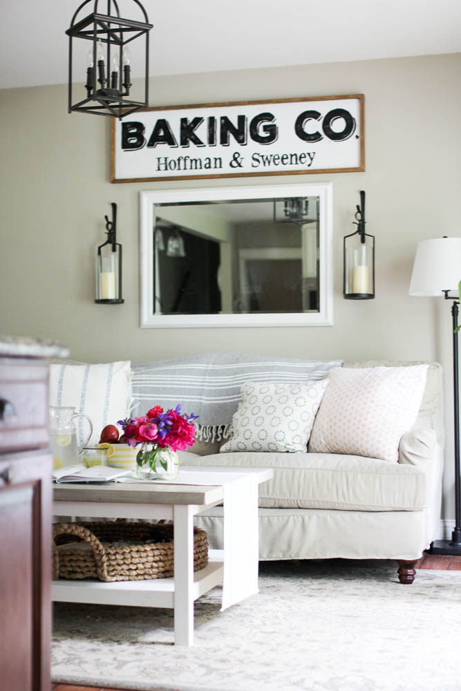 Summer kitchen with Les Indiennes throw pillows and Birch Lane Montgomery Sofa
