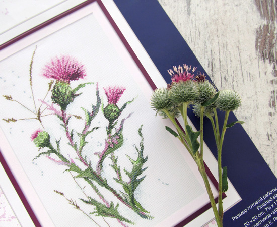Thistle, embroidery, process