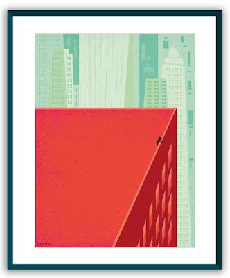 Clod illustration poster seul sur un toit