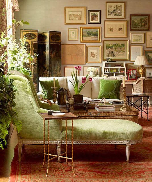 green daybed library office den gallery wall