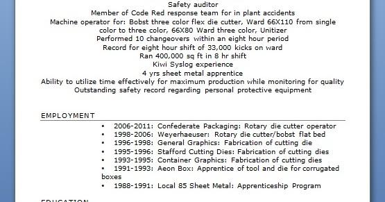 rotary die cutter operator sample resume format in word
