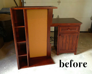 stained desk with hutch before