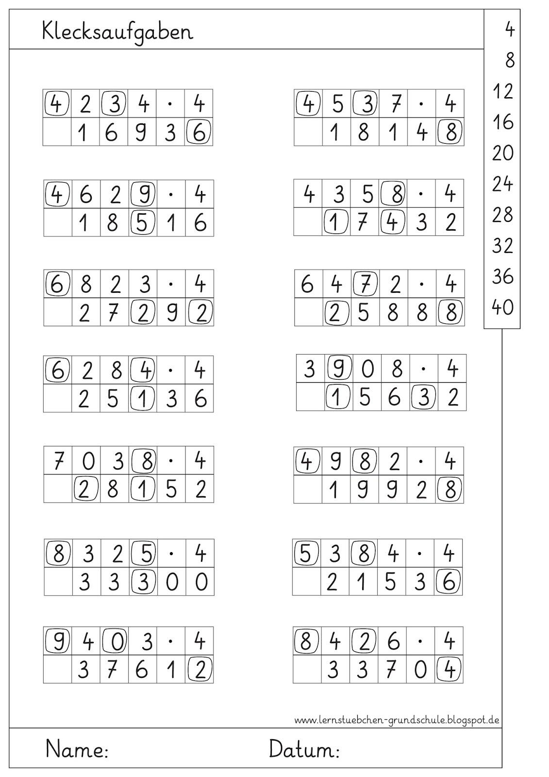 Lernstübchen: Klecksaufgaben zum Multiplizieren (3)