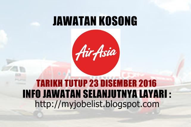 Jawatan Kosong Terkini di AirAsia Berhad 23 Disember 2016