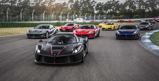 Ferrari Parade auf dem Hockenheimring mit LaFerrari Aperta und Kimi Räikkonen