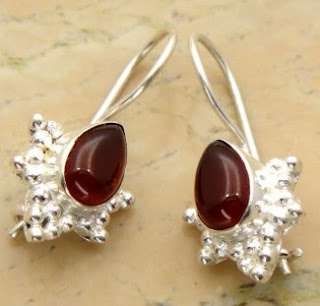 Genuine Carnelian Silver Dangle Hook Earrings