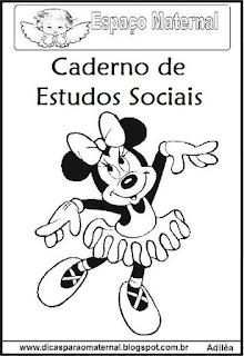 Capa para caderno artes Minnie