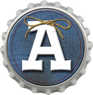 Abecedario en Tapas de Botellas. Alphabet in Bottle Caps. Falta la E.