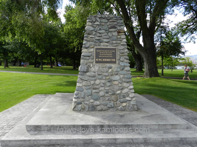 A monument to the soldiers killed in action in Kamloops, BC