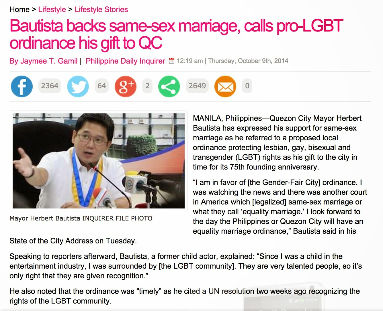 Gallerie her articles on gay marriage rights