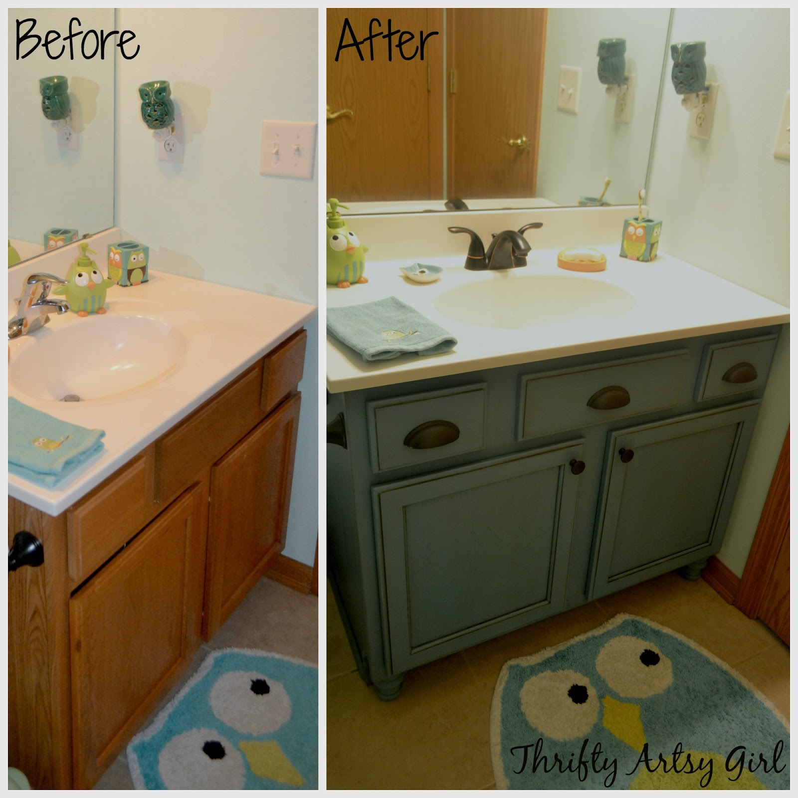 Thrifty Artsy Girl: Builders Grade Teal Bathroom Vanity