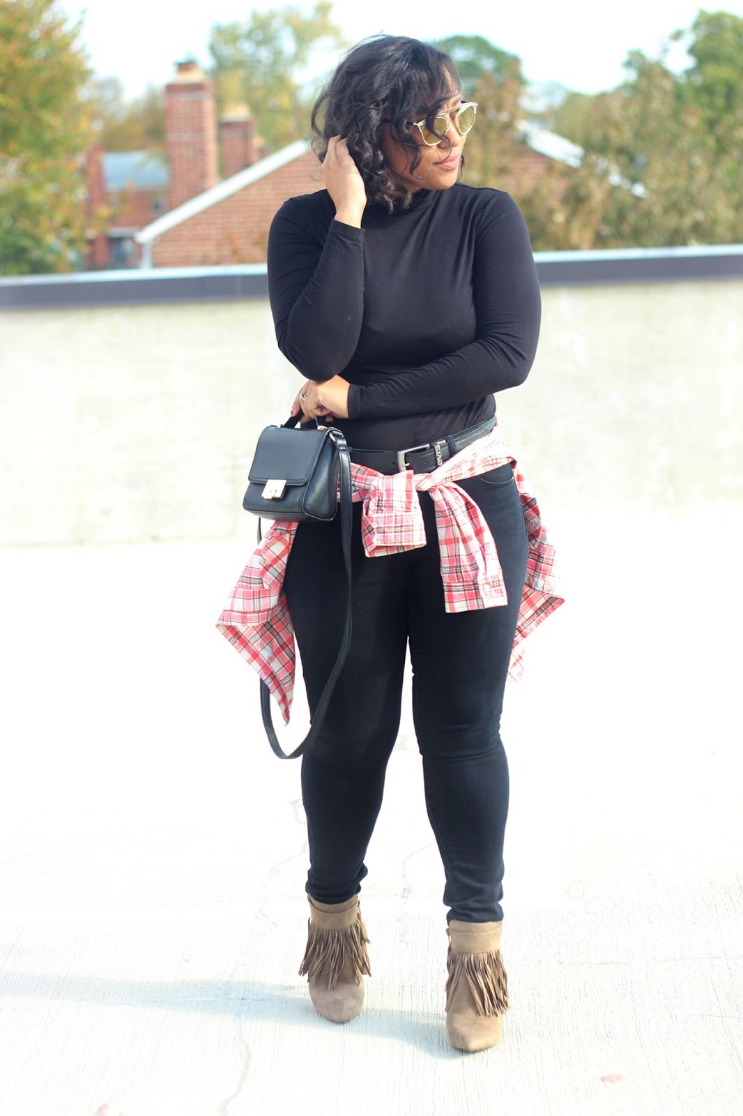 plaid, fringe, black outfits, fall outfits, sunglasses