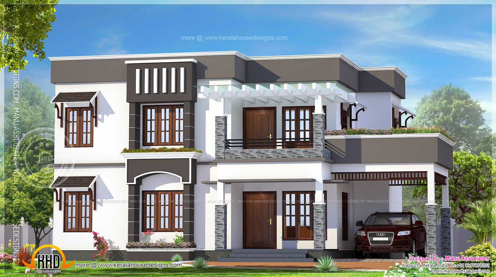 4 bhk flat roof house exterior kerala home design and for Home outer colour design
