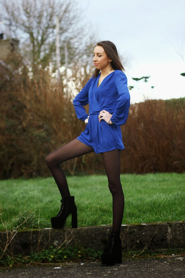 blue wrap playsuit with platform boots