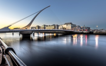 Wallpaper: Samuel Beckett bridge at sunset, Dublin, Ireland