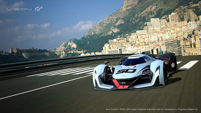 Muroc the Gran Turismo car of Hyundai racing in Monaco on track, Video game Gran Turismo, Monaco F1, Monaco Skyline, Vision GT