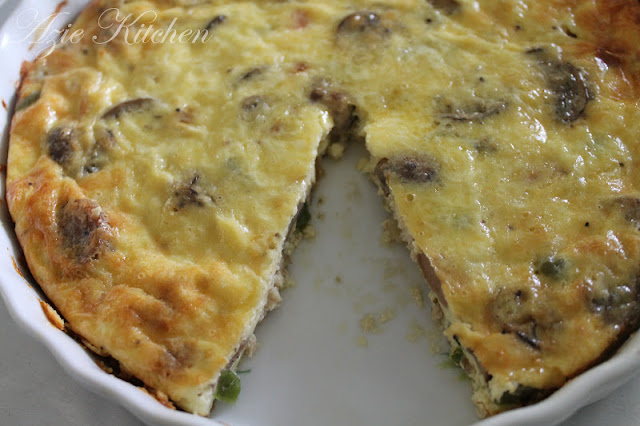Sausage and Chicken Mushroom Crustless Quiche