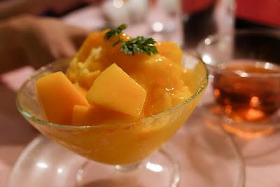 A shaved ice mango dessert at Szechwan Restaurant Akasaka, Tokyo.