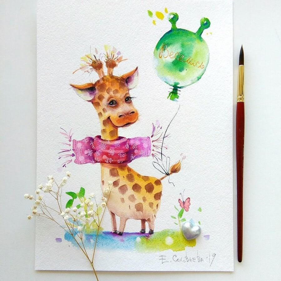 05-Giraffe-Evgeniya-Solovyova-Fantasy-Animals-Watercolor-Paintings-www-designstack-co