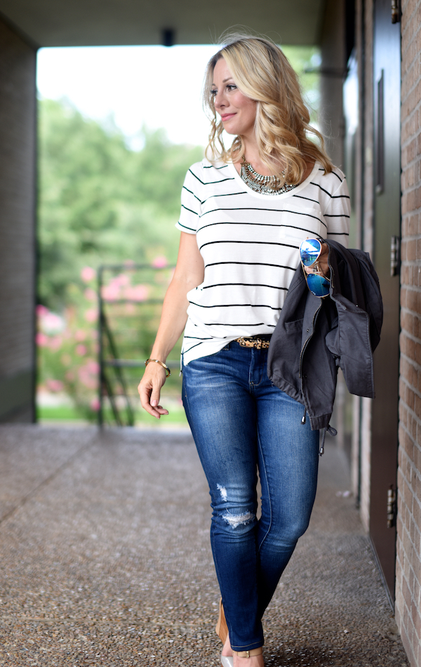 Outfit Inspiration | Striped top and ripped skinny jeans