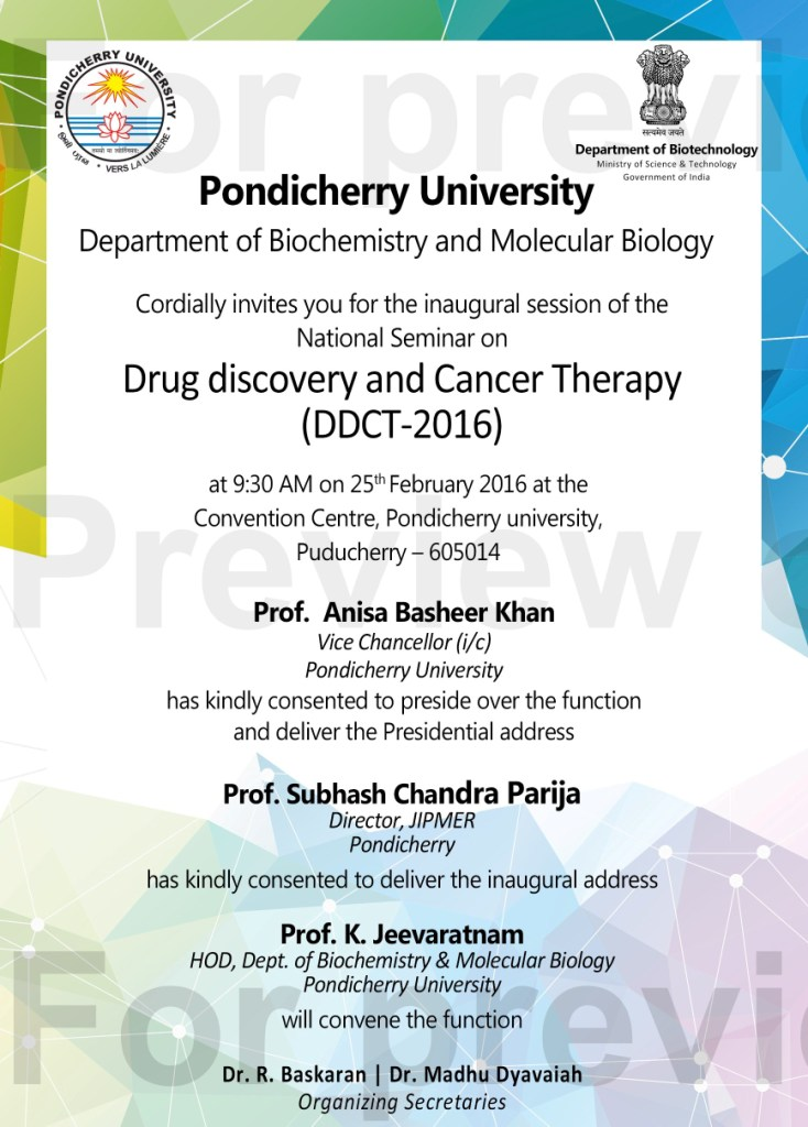 ID card Invitation letter for National seminar Pondicherry