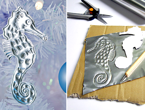 aluminum Christmas ornament - DIY Aluminum Embossed Under The Sea Christmas Ornaments - Coastal