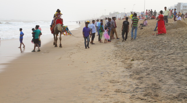 An evening walk at Puri's Golden Beach
