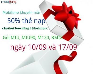 Tặng 50% giá trị thẻ nạp cho thuê bao sử dụng 3G Mobifone